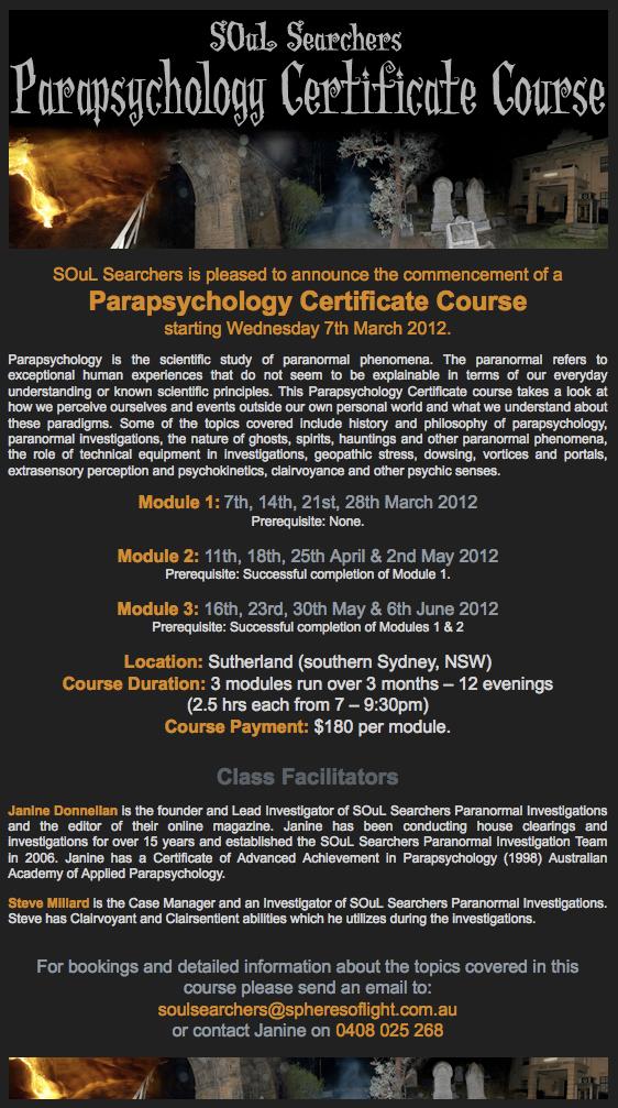 SOuL Searchers Parapsychology Certificate Course