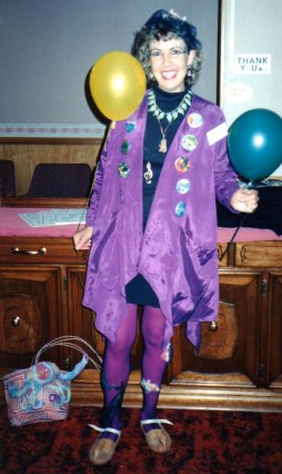 Birdie's grand entrance to our 20 year High School Reunion, Sept 1995.