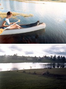 Birdie & her cat Prof canoeing, and the view from their house in June 1986.